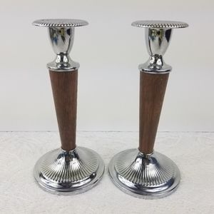 2 Ianthe metal wood candle holders made in England